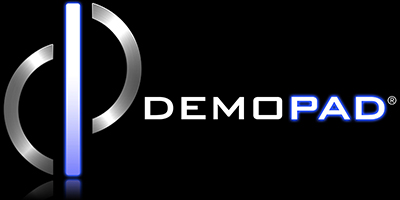 DemoPad Logo - Black Background with Reflection