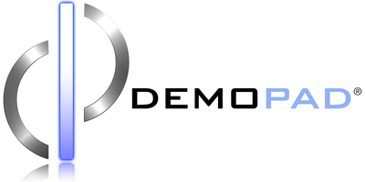 DemoPad Logo - White Background with Reflection