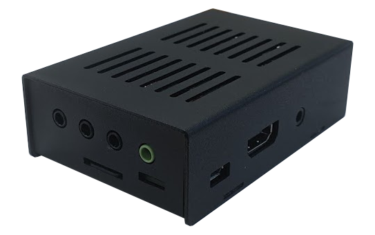 A 3 quarter angled Photo of a Centro 8M - A small grey metal box with black and green i/o ports